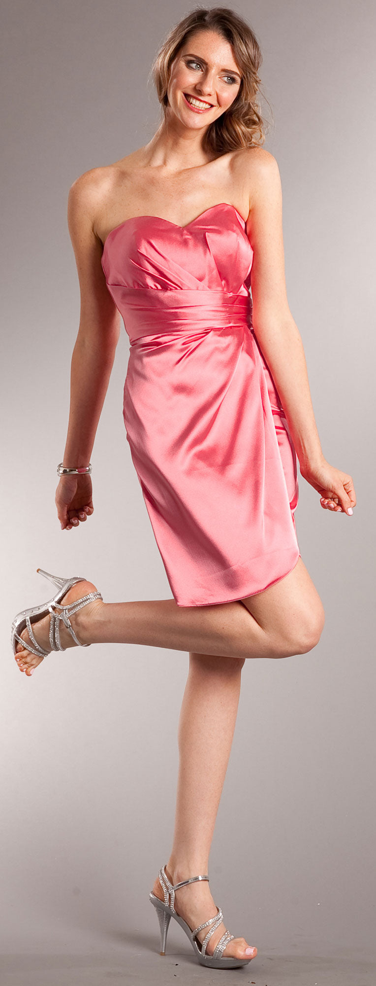 Image of Strapless Wrap Around Short Bridesmaid Party Dress in Coral