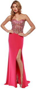 Image of Sweetheart Neck Rhinestones Bodice Long Prom Pageant Dress in Fuchsia