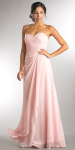 Image of Strapless Pleated Overlap Bust Long Bridesmaid Dress in Blush