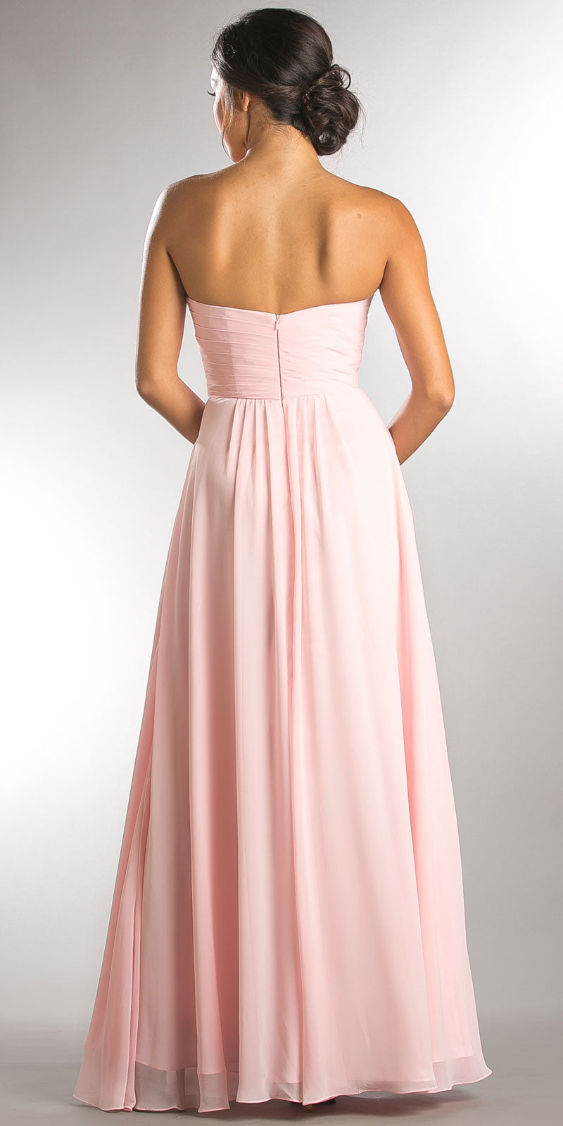 Image of Strapless Pleated Overlap Bust Long Bridesmaid Dress back in Blush