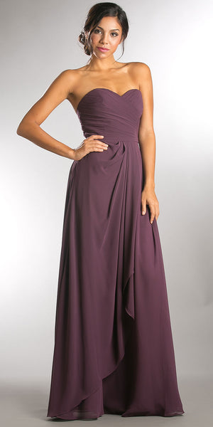 Main image of Strapless Pleated Overlap Bust Long Bridesmaid Dress