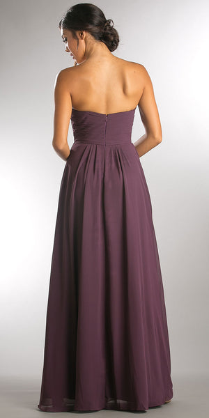 Back image of Strapless Pleated Overlap Bust Long Bridesmaid Dress