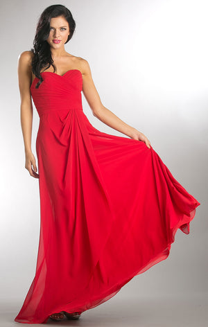 Image of Strapless Pleated Overlap Bust Long Bridesmaid Dress in Red