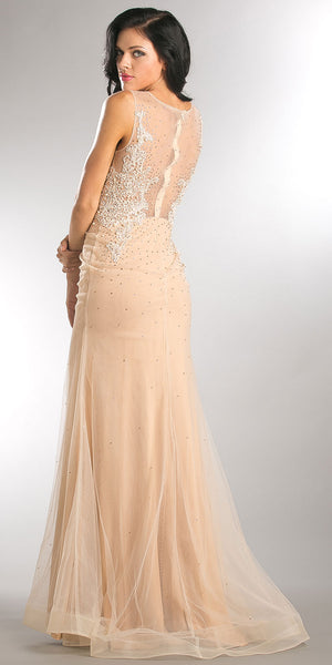 Back image of Embroidered Lace Top Mesh Tulle Long Prom Pageant Dress