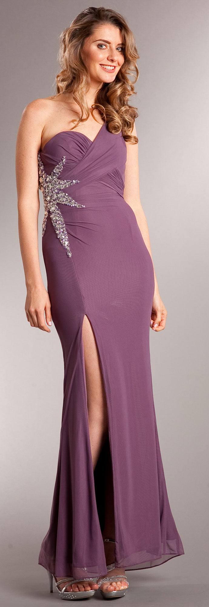 Main image of One Shoulder Long Formal Dress With Bejeweled Waist