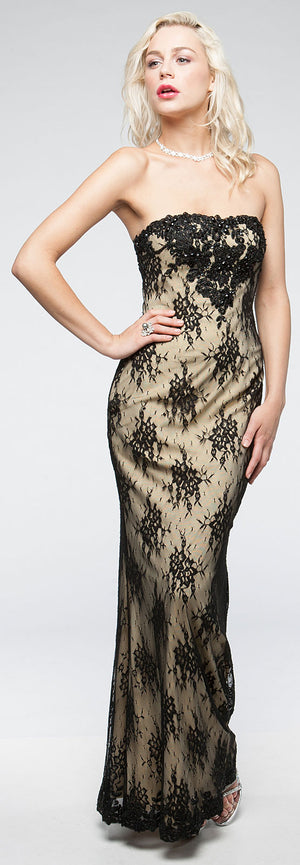 Image of Strapless Floral Mesh Beaded Long Formal Evening Dress  in Black
