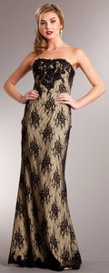 Main image of Strapless Floral Mesh Beaded Long Formal Evening Dress
