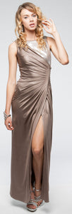 Main image of Sleeveless Wrap Around Style Shimmery Long Formal Prom Dress