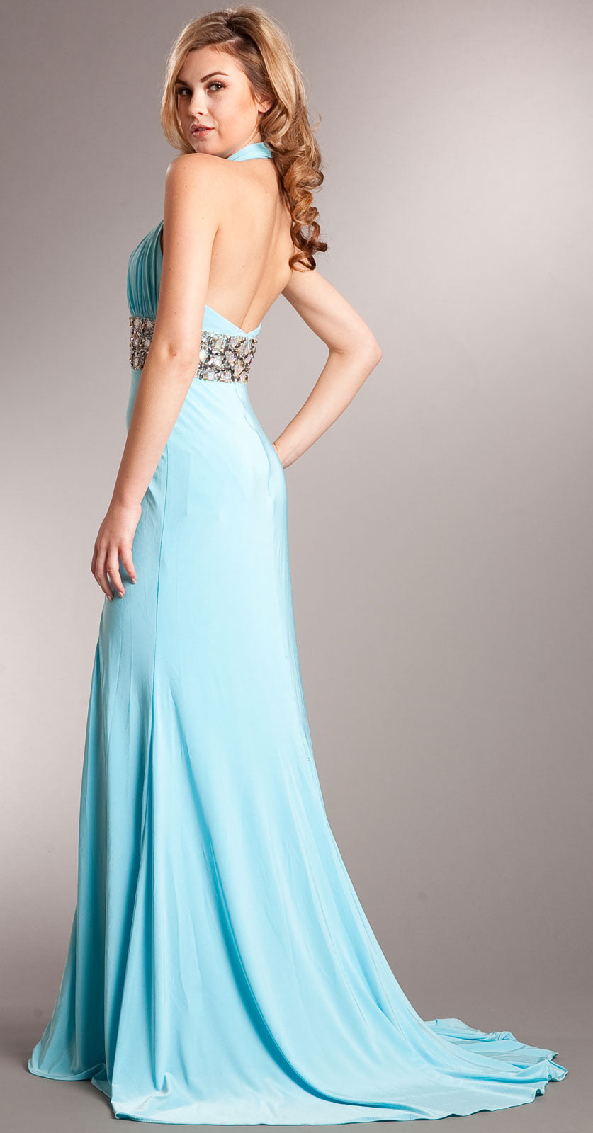 Back image of Halter Neck Full Length Formal Prom Gown With Front Slit