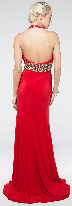 Image of Halter Neck Full Length Formal Prom Gown With Front Slit back in Red