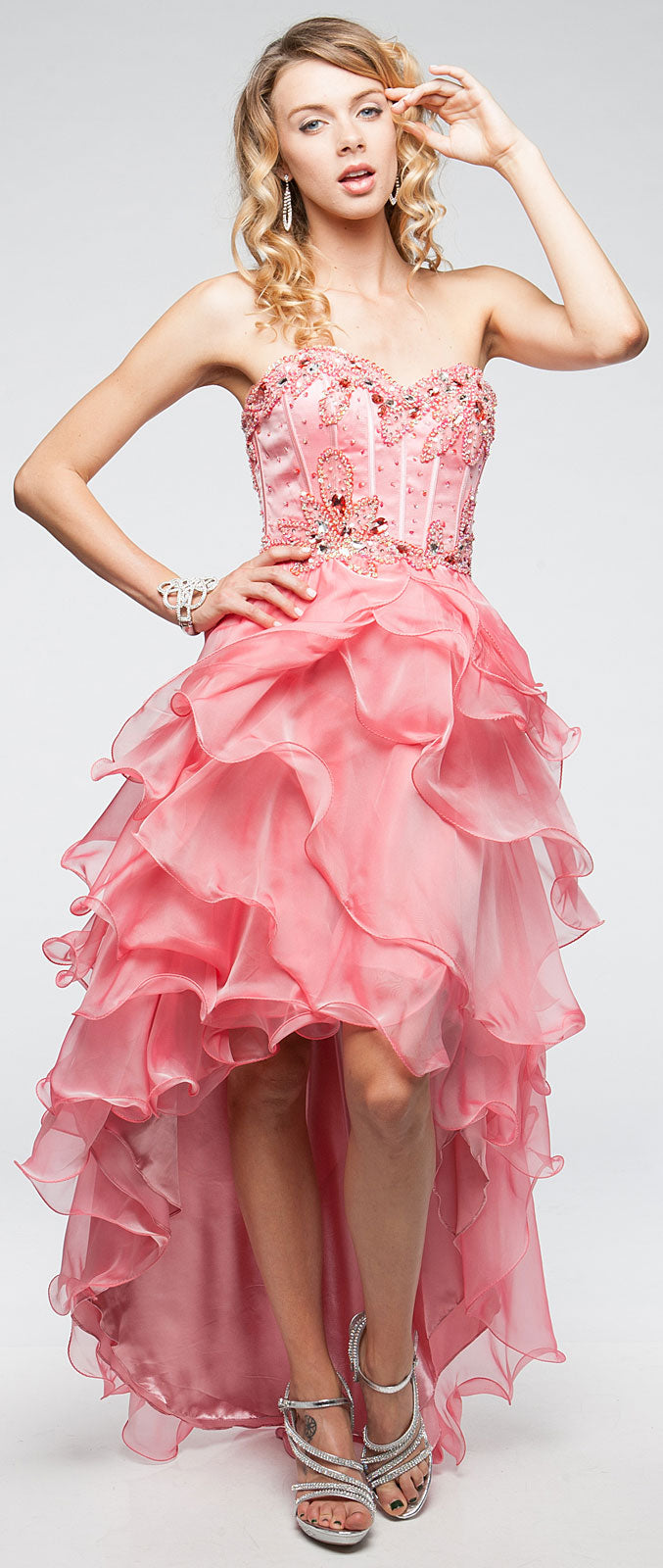 Image of Strapless High-low Cocktail Prom Dress With Ruffled Skirt in alternative picture
