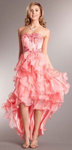 Main image of Strapless High-low Cocktail Prom Dress With Ruffled Skirt