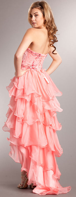 Back image of Strapless High-low Cocktail Prom Dress With Ruffled Skirt