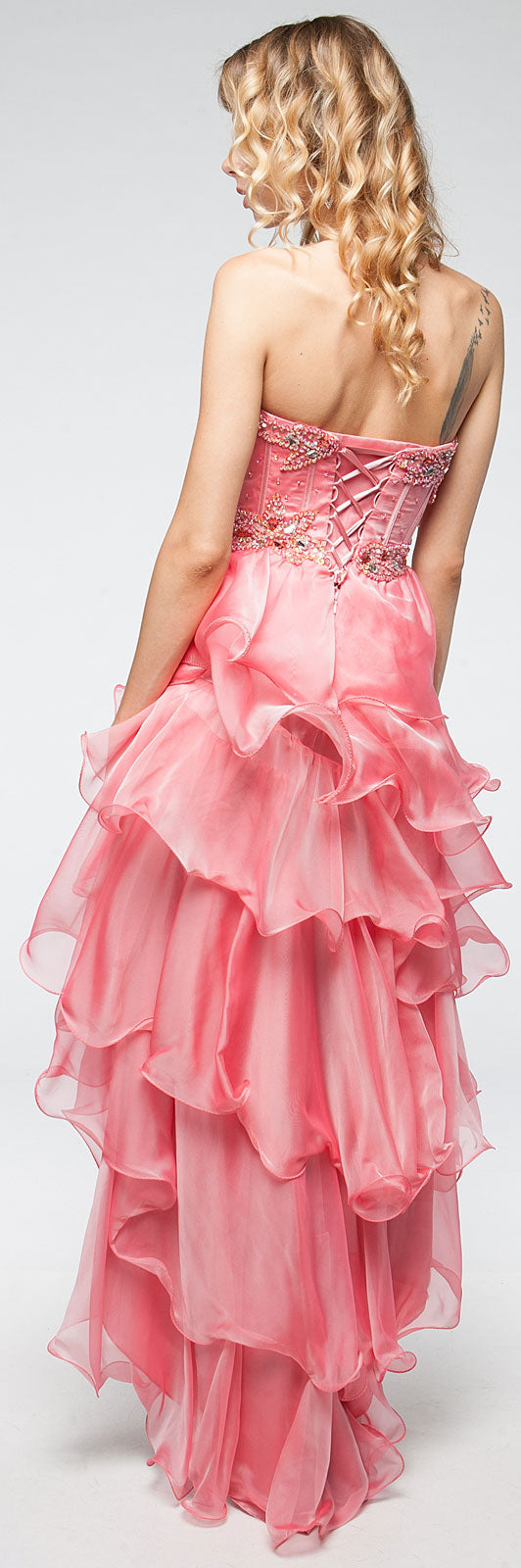 Image of Strapless High-low Cocktail Prom Dress With Ruffled Skirt back in Coral