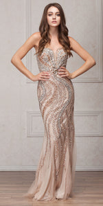 Image of Strapless Bejeweled Bodice Mesh Long Formal Prom Dress in Champaign
