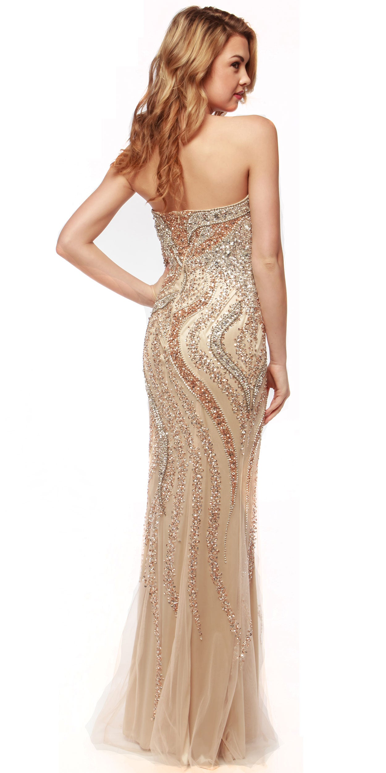 Image of Strapless Bejeweled Bodice Mesh Long Formal Prom Dress back in Champaign
