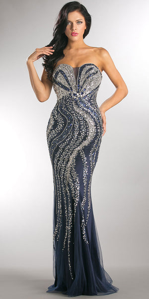 Main image of Strapless Bejeweled Bodice Mesh Long Formal Prom Dress