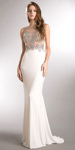 Main image of Sparkling Beaded Mesh Top Sheer Back Long Prom Pageant Dress