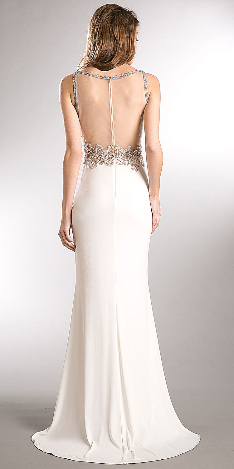 Back image of Sparkling Beaded Mesh Top Sheer Back Long Prom Pageant Dress