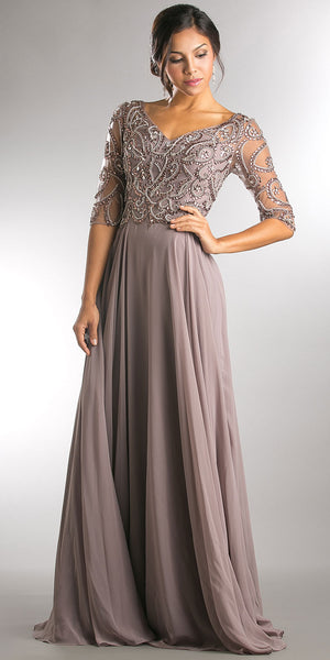 Image of V-neck Beaded Top Half Sleeves Long Mother Of Bride Dress in Brown