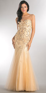 Image of Beaded Mesh Tulle Mermaid Style Long Prom Pageant Dress in Champaign