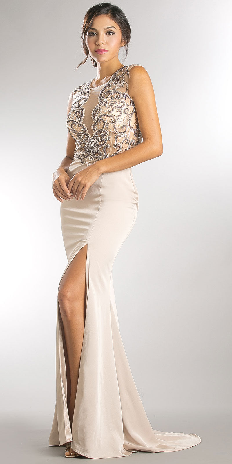 Image of Elegant Beaded Sheer Bodice Long Prom Pageant Dress in Champaign
