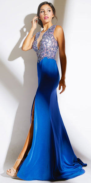 Image of Elegant Beaded Sheer Bodice Long Prom Pageant Dress in an alternative image