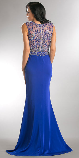 Back image of Elegant Beaded Sheer Bodice Long Prom Pageant Dress