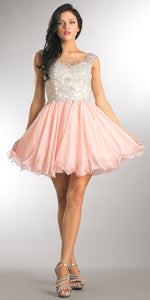 Image of Embellished Lace Bodice Short Babydoll Homecoming Dress in Blush