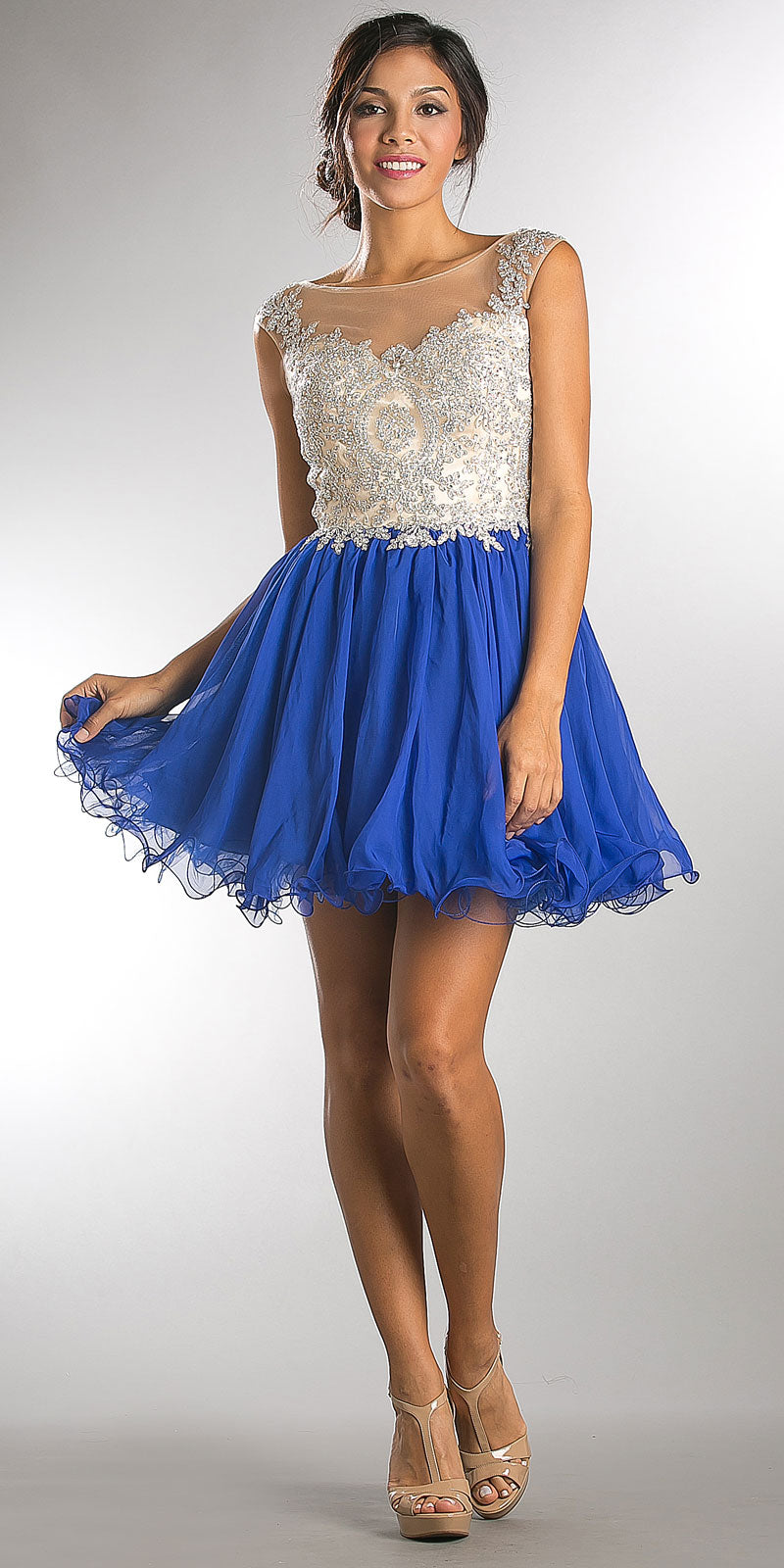 Main image of Embellished Lace Bodice Short Babydoll Homecoming Dress