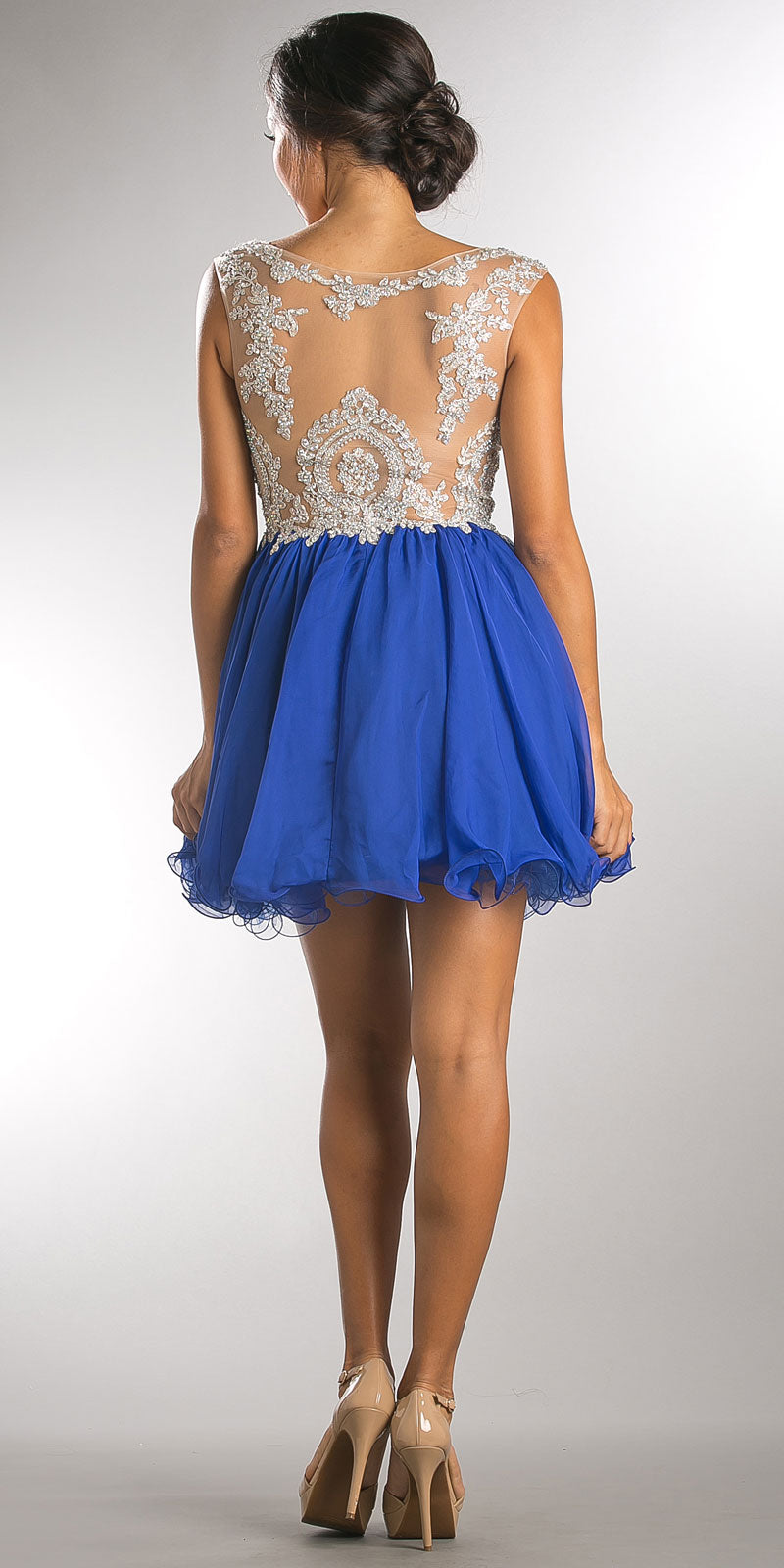 Back image of Embellished Lace Bodice Short Babydoll Homecoming Dress