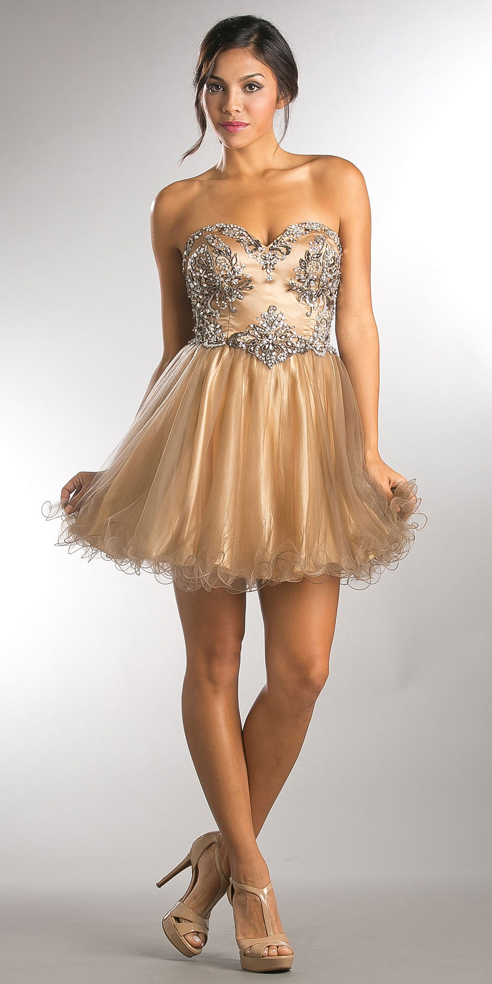 Main image of Strapless Satin Beaded Top Short Tulle Homecoming Dress
