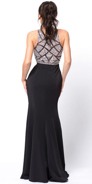 Back image of Sleeveless Beaded Top High Neck Long Prom Dress