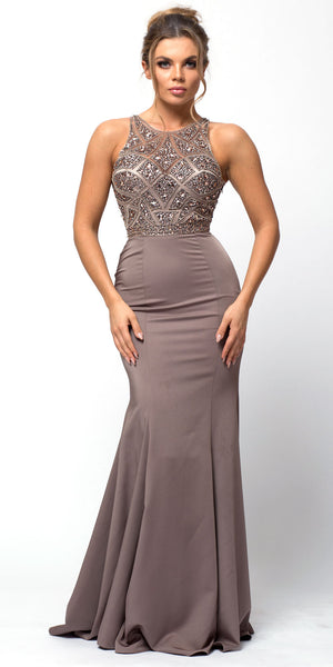 Image of Sleeveless Beaded Top High Neck Long Prom Dress in Mocha