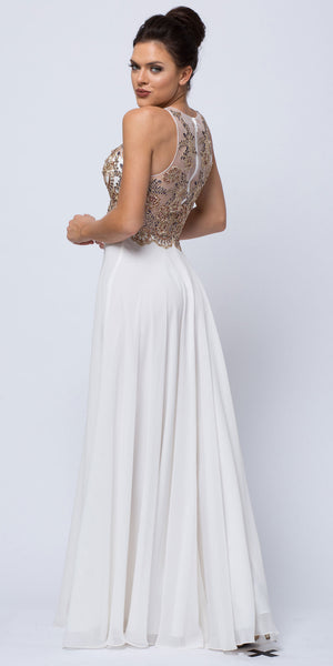 Back image of Sleeveless Floral Accent Beaded Top Long Prom Dress