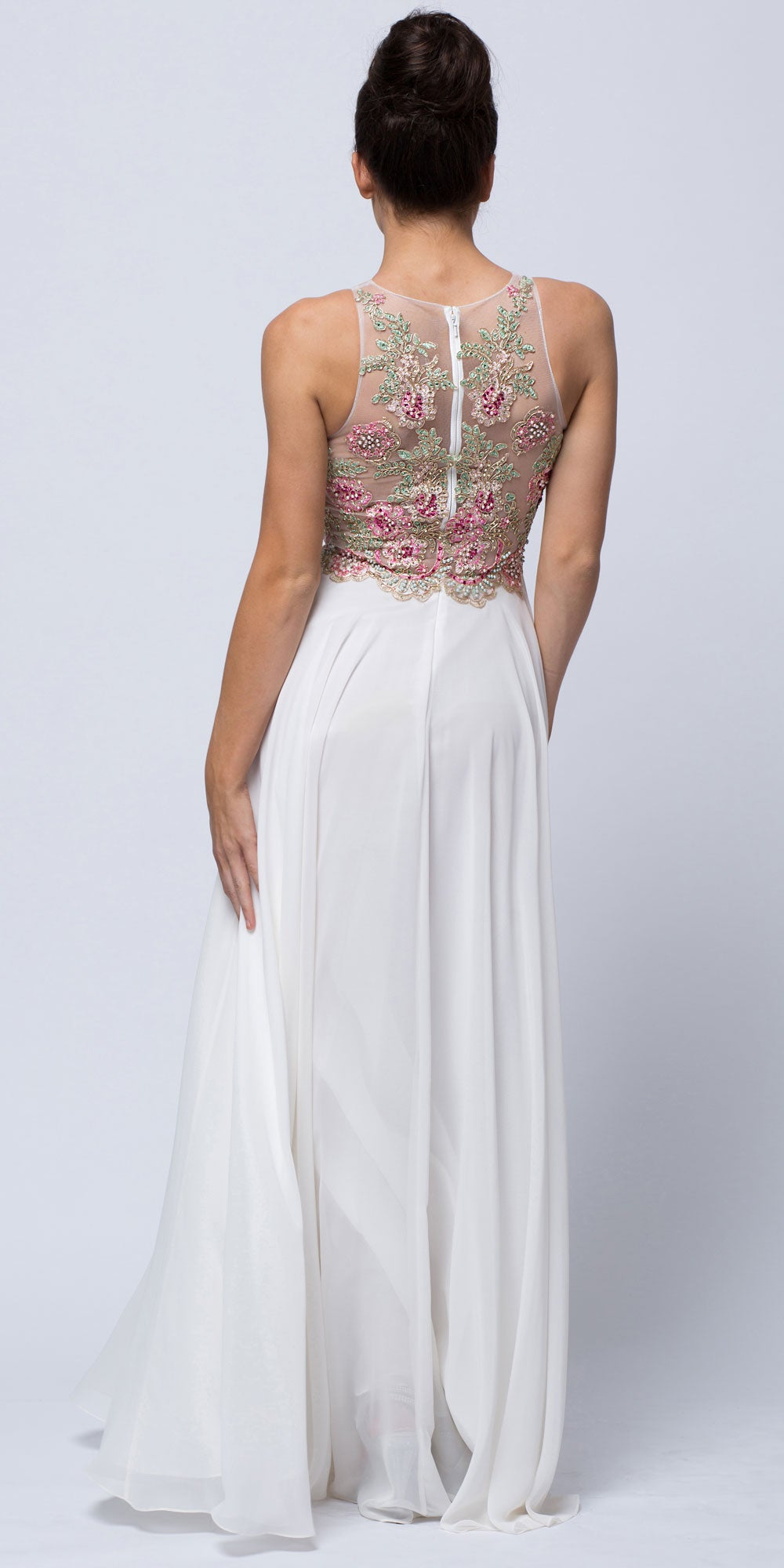 Image of Sleeveless Floral Accent Beaded Top Long Prom Dress back in Ivory/Pink