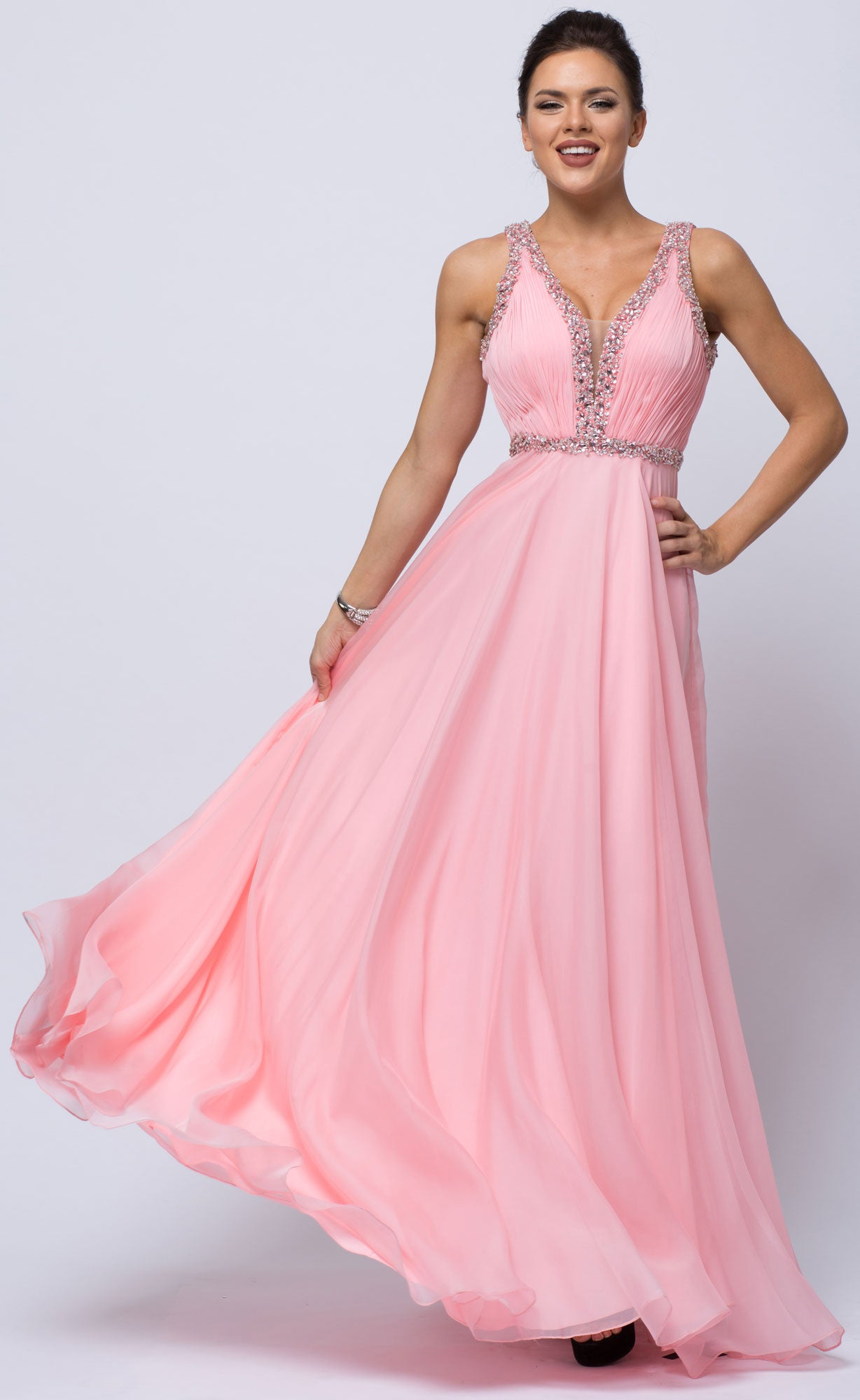 Main image of Sequined Shirred Bodice A-line Chiffon Long Prom Dress