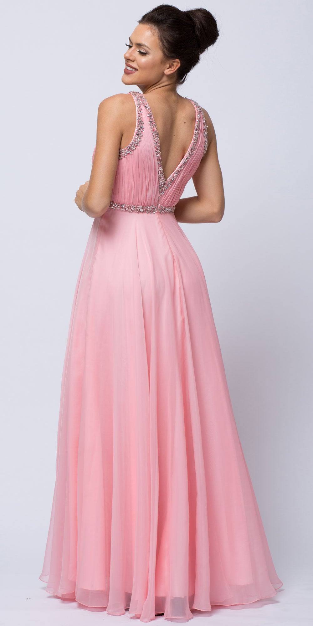 Back image of Sequined Shirred Bodice A-line Chiffon Long Prom Dress