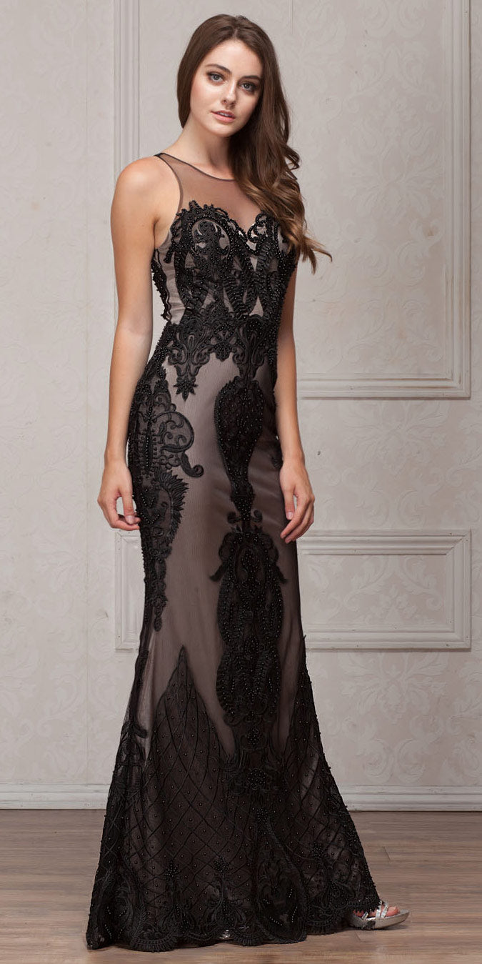Image of Beads & Lace Accent Long Fitted Formal Prom Pageant Dress in Black