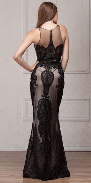Back image of Beads & Lace Accent Long Fitted Formal Prom Pageant Dress