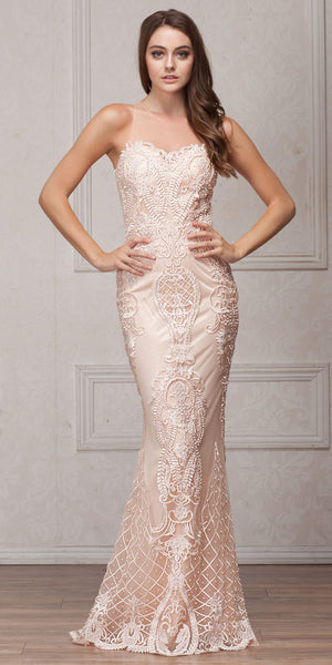 Main image of Beads & Lace Accent Long Fitted Formal Prom Pageant Dress