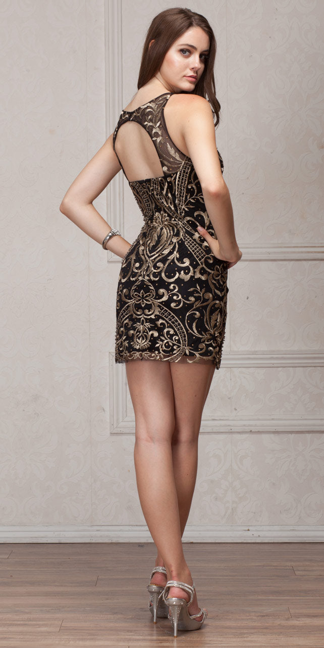 Back image of Elegant Gold Embroidery Short Party Bridesmaid Dress