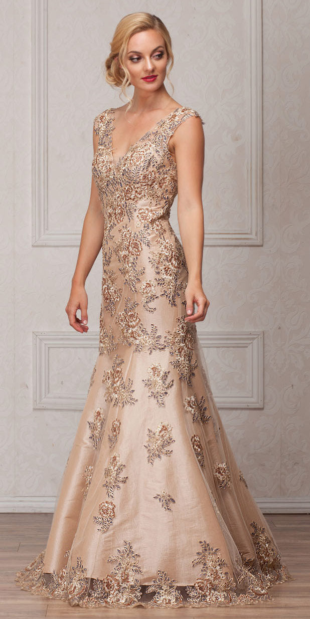 Image of V-neck Floral Embellishments Mesh Long Prom Pageant Dress in Champaign