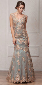 Main image of V-neck Floral Embellishments Mesh Long Prom Pageant Dress