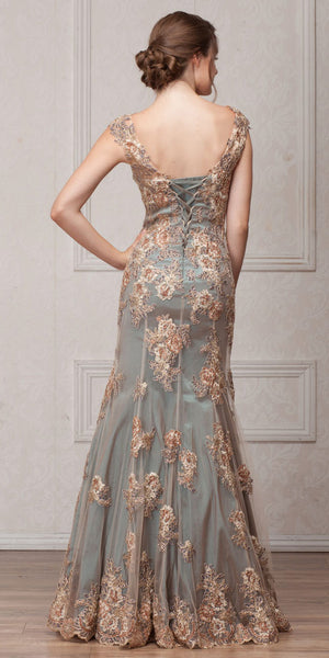 Back image of V-neck Floral Embellishments Mesh Long Prom Pageant Dress