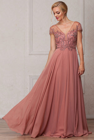 Image of Short Sleeves V-neck Sequined Bust Long Formal Evening Dress in Rose