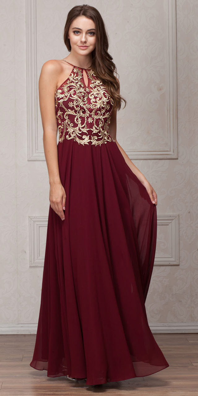 Image of Gold Accent Keyhole Mesh Bust Long Formal Evening Dress in Burgundy