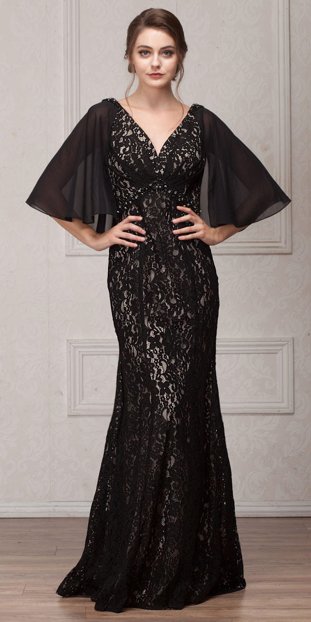 Image of V-neck Floral Lace Sheer Cape Long Mob Gown in Black