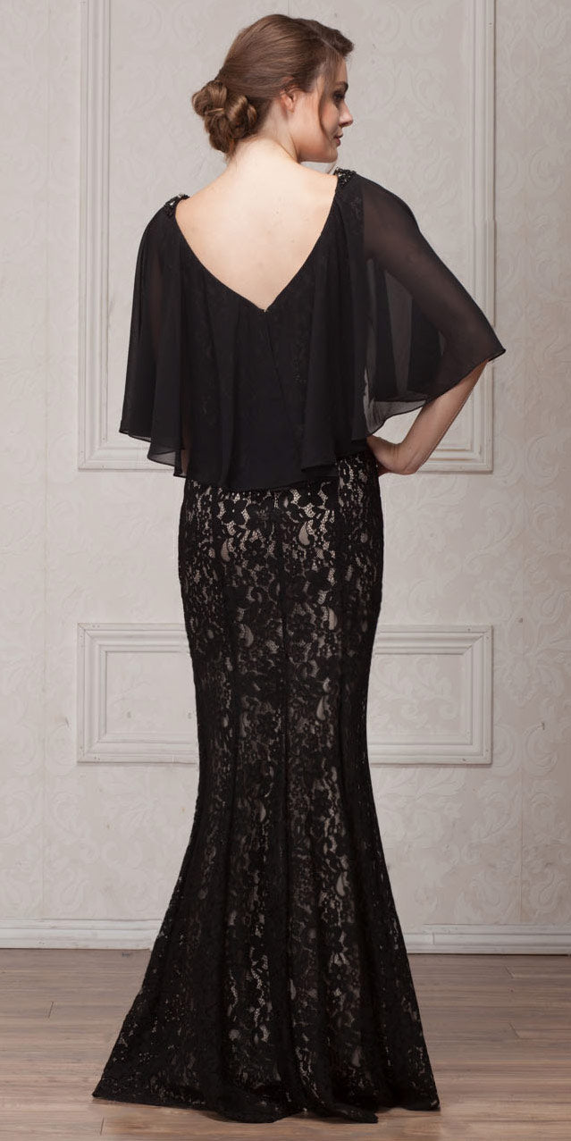 Back image of V-neck Floral Lace Sheer Cape Long Mob Gown