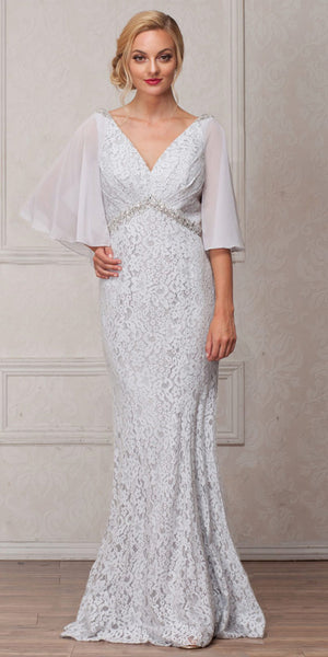 Main image of V-neck Floral Lace Sheer Cape Long Mob Gown